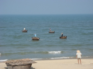 Traditional Vietnamese fishing boats.